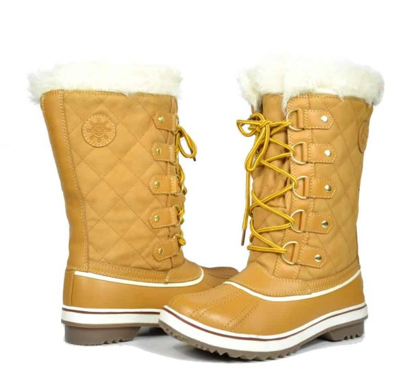 Women's Globalwin Beige Waterproof Winter Boots-5145